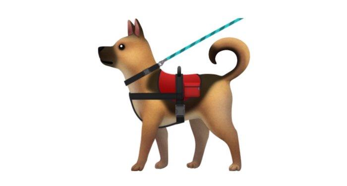 Emoji Apple Perro servicio con chaleco y correa