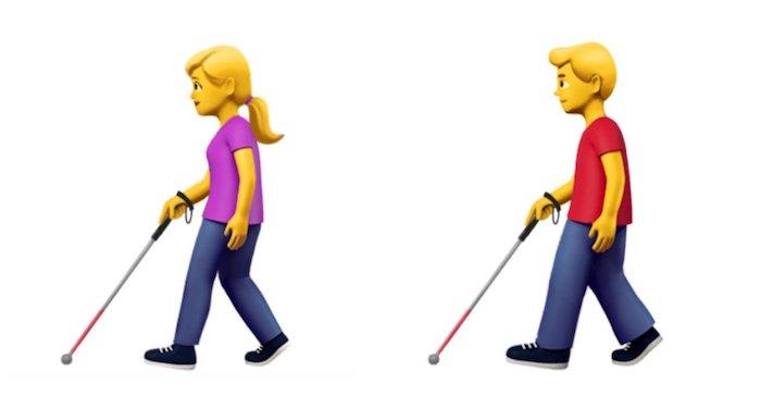 Emoji Apple Persona con bastón blanco