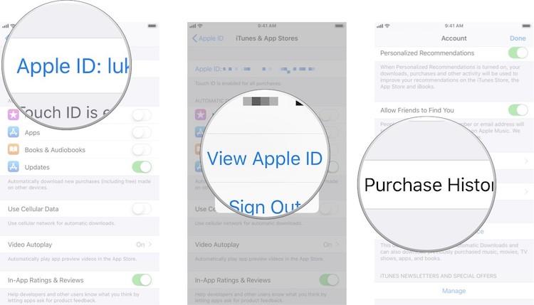 historial compras integradas iOS
