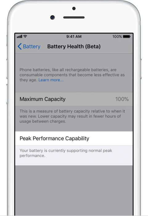 comprobar estado batería iOS 11.3 1