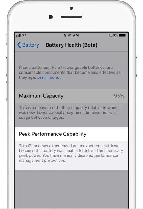 comprobar estado batería iOS 11.3 2