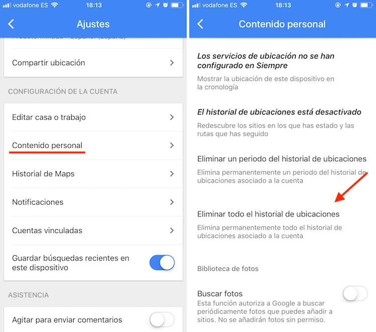 eliminar historial localización iOS Google 2