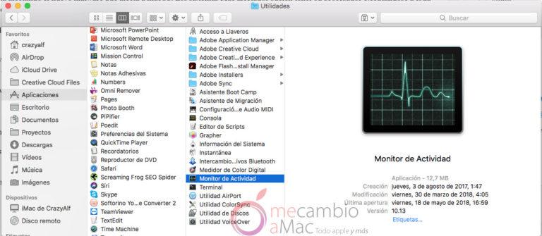 localizar monitor de actividad de macOS