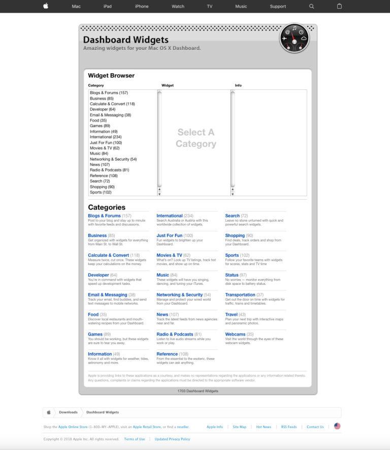 página de widgets para el dashboard de macOS