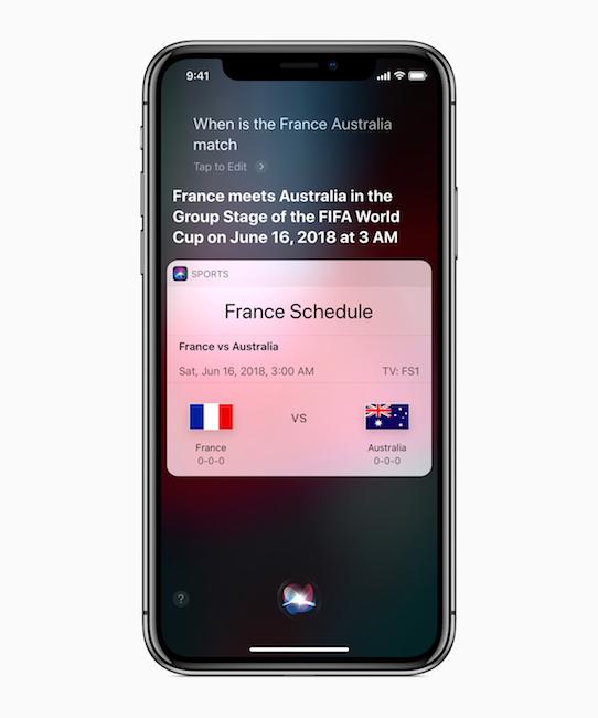 Siri ofrece datos y resultados de Rusia 2018