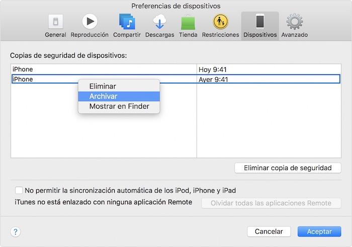 Archivar copia iOS 12