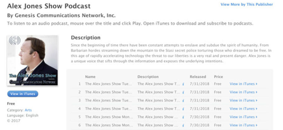 Alex Jones expulsado Apple iTunes Podcast