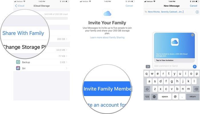 cómo configurar iCloud compartir en familia