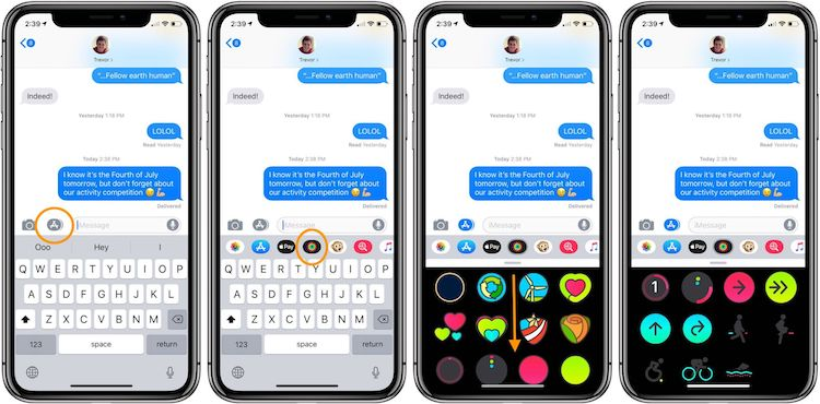 Cómo usar stickers animados de Actividad en iOS 12
