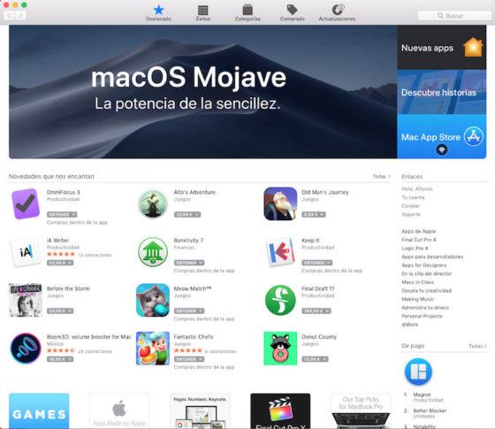 Actualizar macOS Mojave desde la App Store