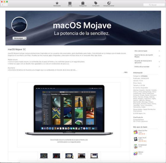 Descargar macOS Mojave desde la App Store