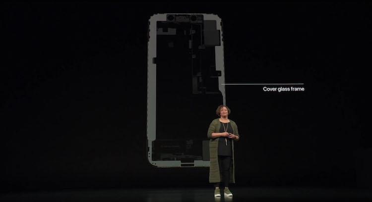marco de cristal que recubre al iPhone Xs