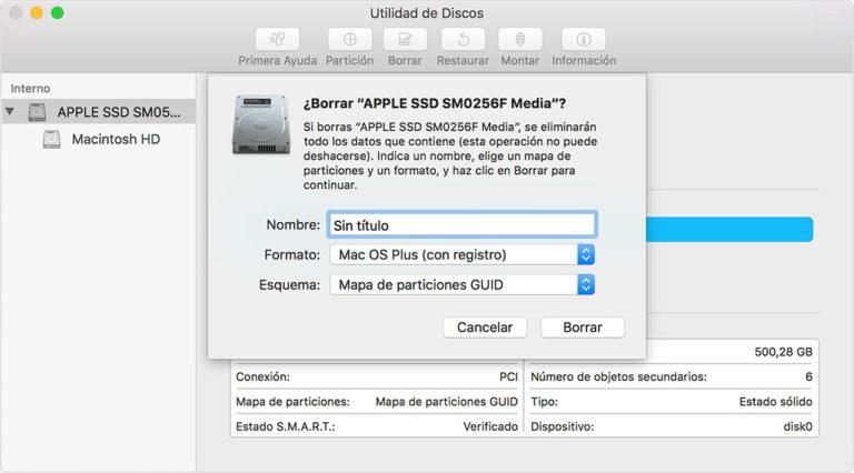 macOS Mojave - borrado disco duro