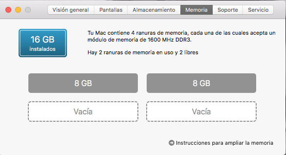 Acerca de este Mac: memoria RAM