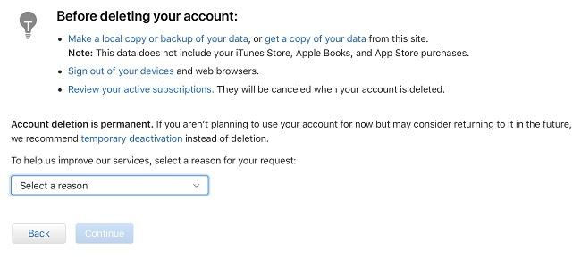 Borrar una cuenta ID de Apple