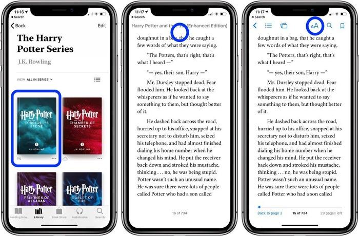Modo oscuro en Apple Books