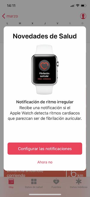 Notificaciones de signos de fabricación auricular Apple Watch
