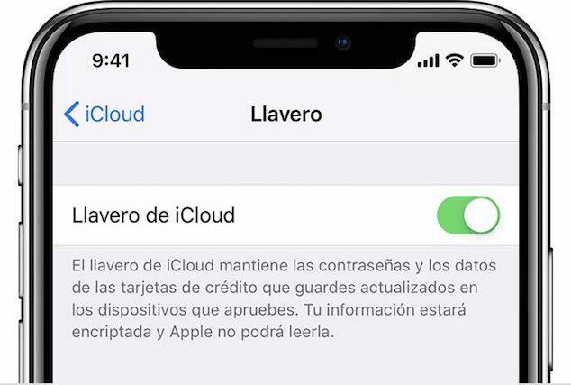 llavero iCloud en iOS 12