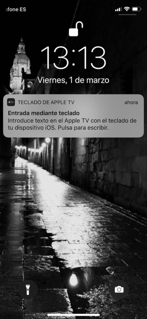 Entrada de teclado app Apple TV