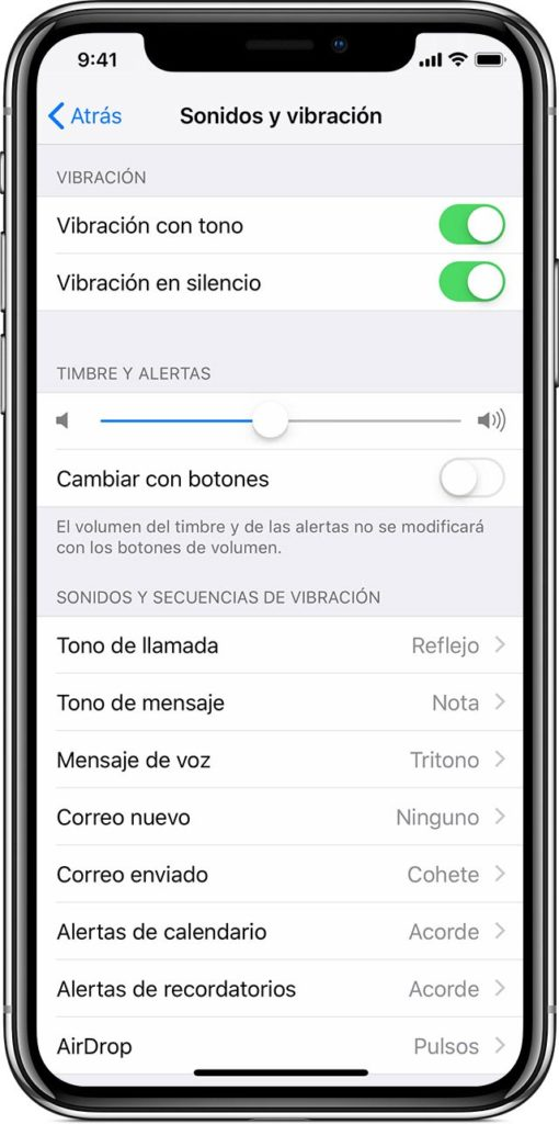 iPhone X - tutorial modo vibración o silencio