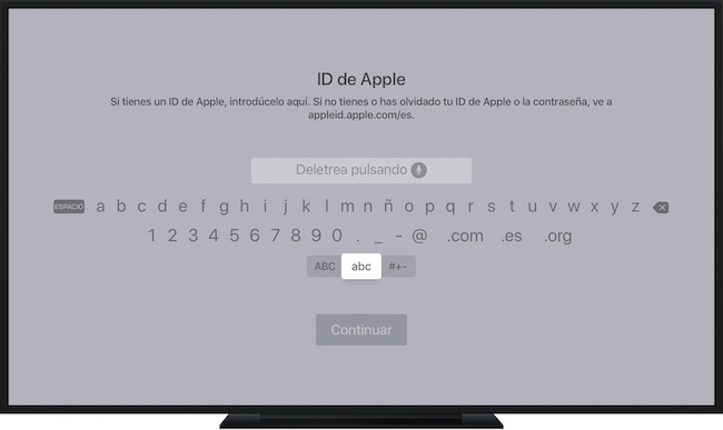 Apple TV - contraseña en pantalla