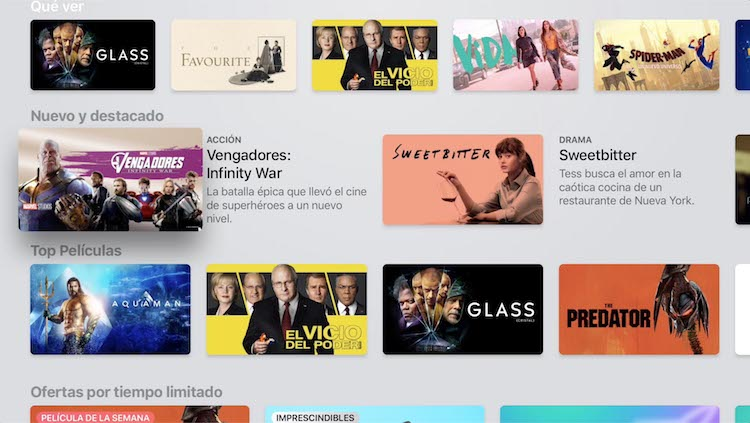Contenido de iTunes Movies en la App de TV