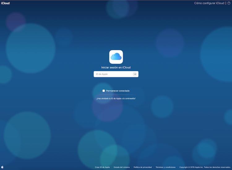 Acceso al portal de iCloud.com