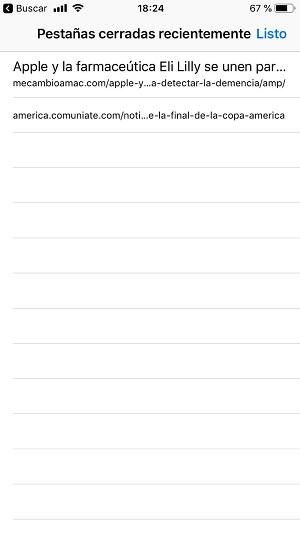 recuperar las pestañas de Safari en iPhone