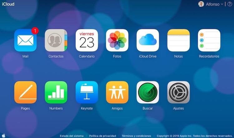 Web de iCloud.com