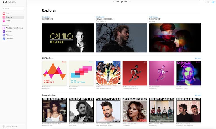 Portada español Beta de Apple Music web