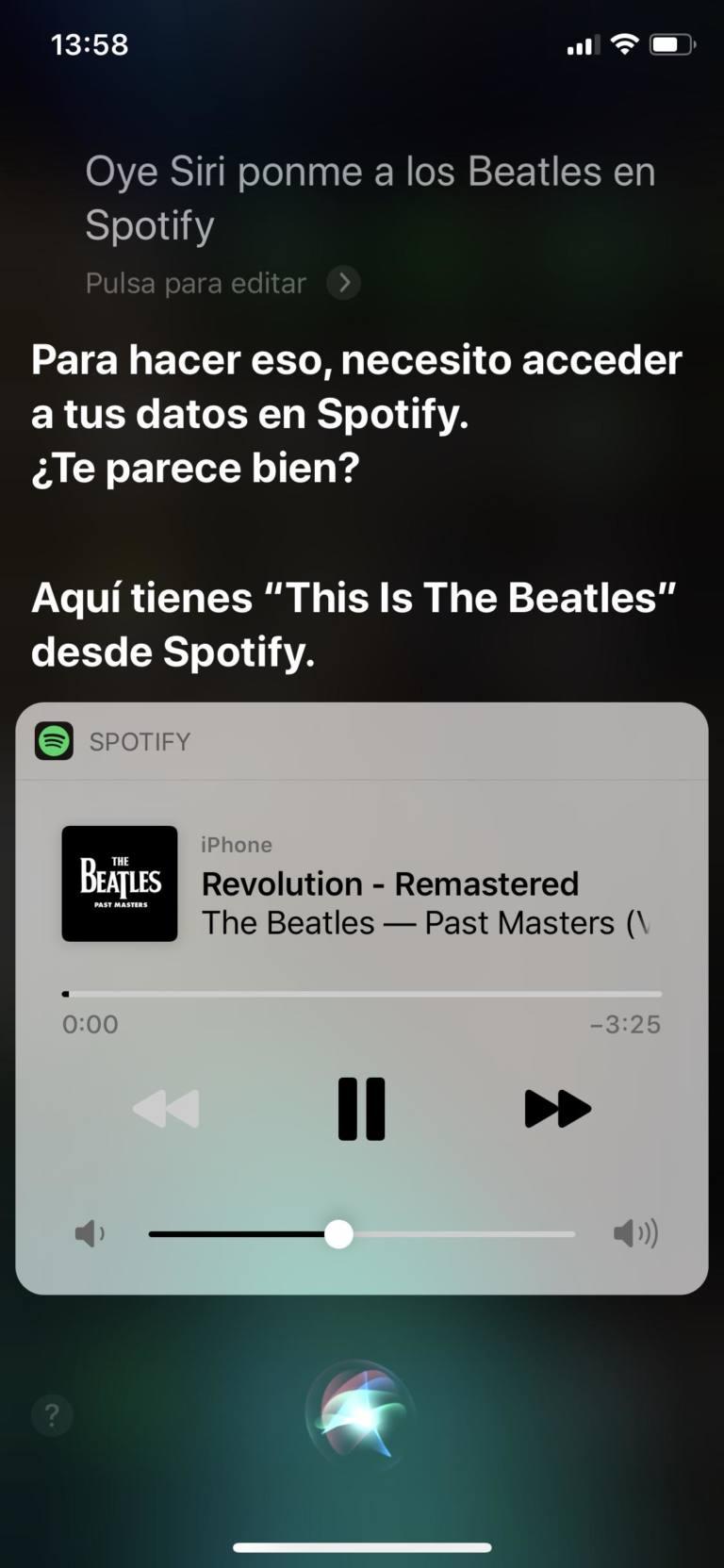 Permisos de Siri para usar Spotify