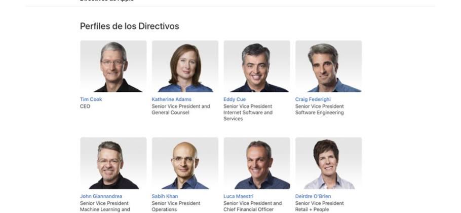 Directivos de Apple - noviembre 2019
