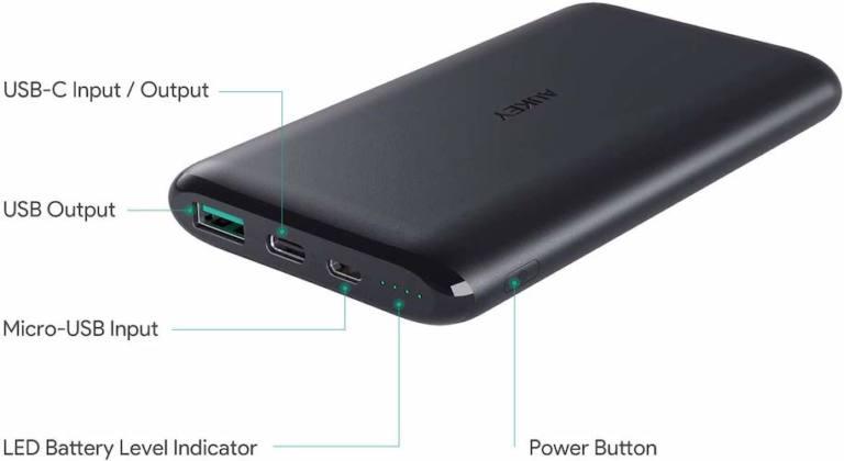Batería Externa de 10000mAh de AUKEYcon USB C
