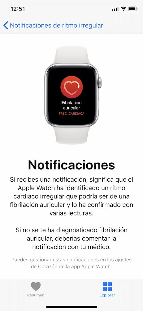 Notificaciones app Apple Watch fibrilación auricular