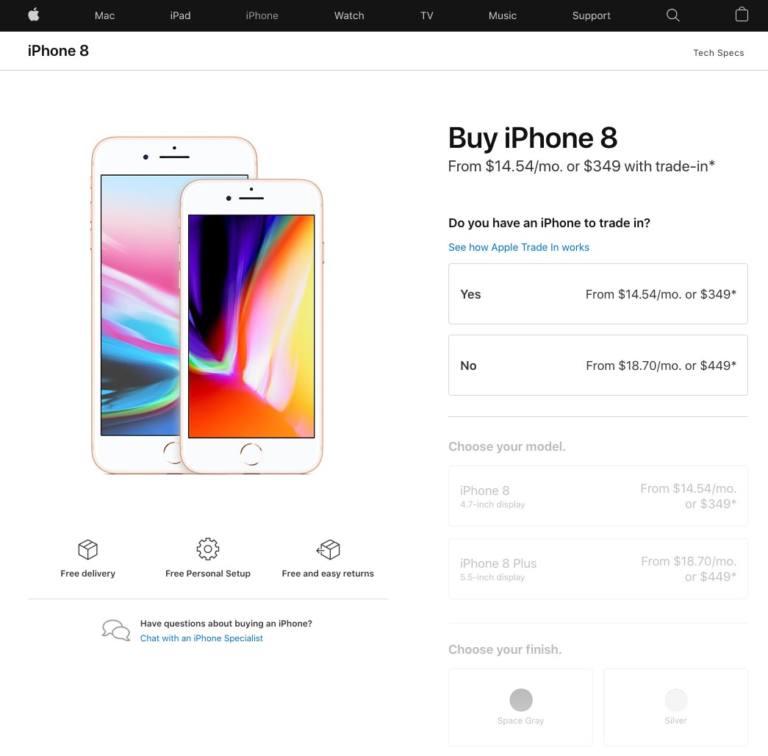 Precio del iPhone 8 en Estados Unidos