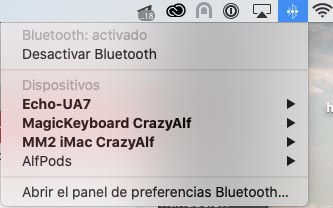 Lista Bluetooth del iMac