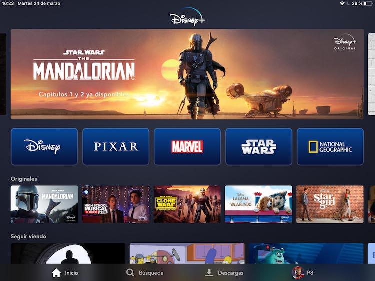Menú de la app Disney Plus en iPad