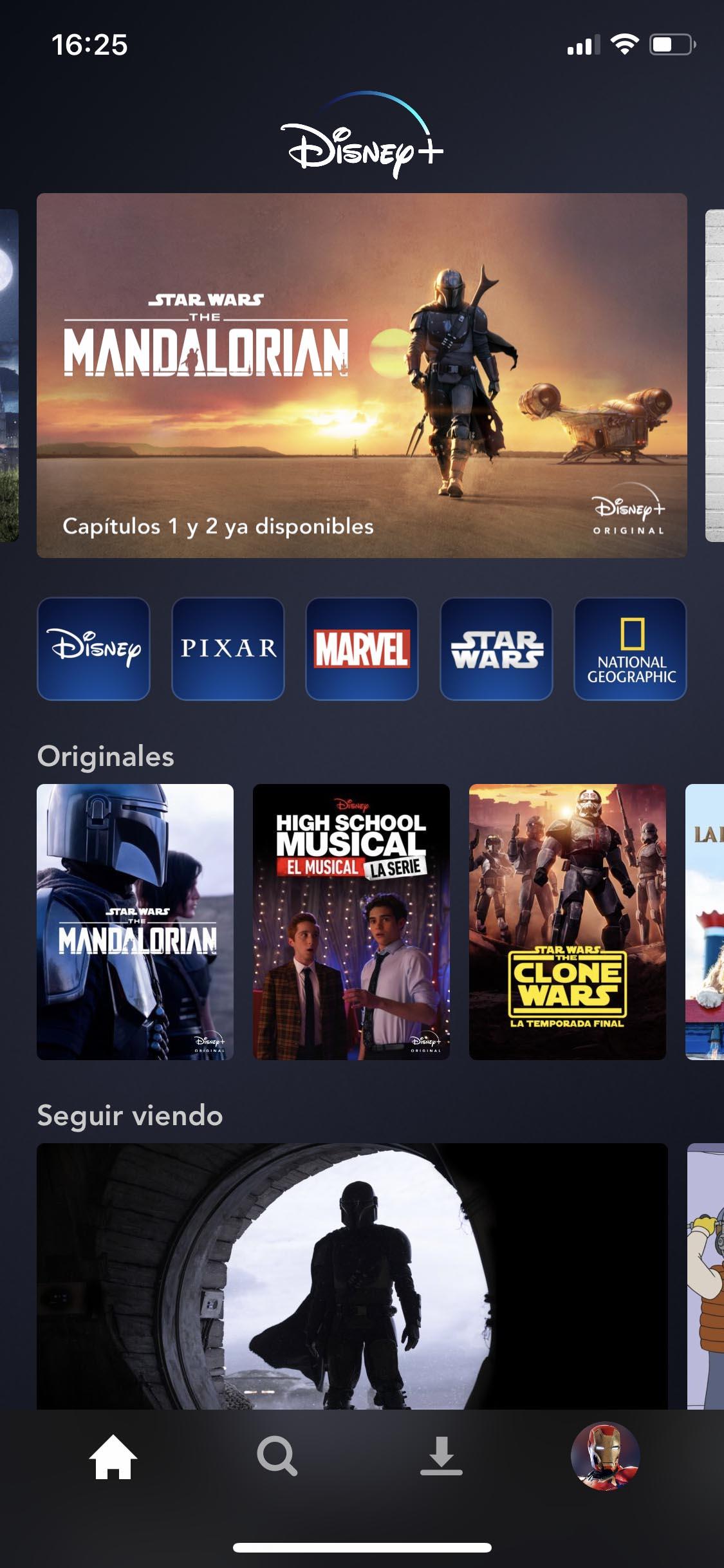 Menu app de Disney Plus en iPhone