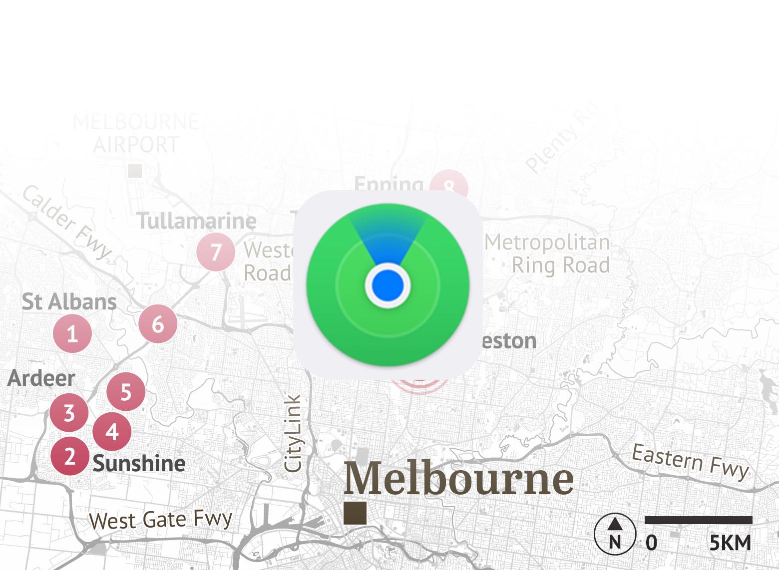 Melbourne - persecución Buscar iPhone