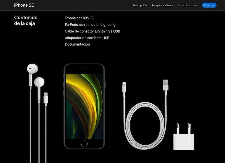 Contenido caja iPhone SE 2020