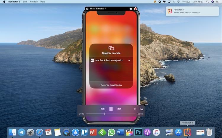 Ver la pantalla del iPhone en el Mac con Reflector 3