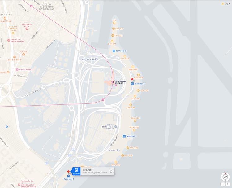 Aeropuerto Madrid Barajas en Apple Mapas