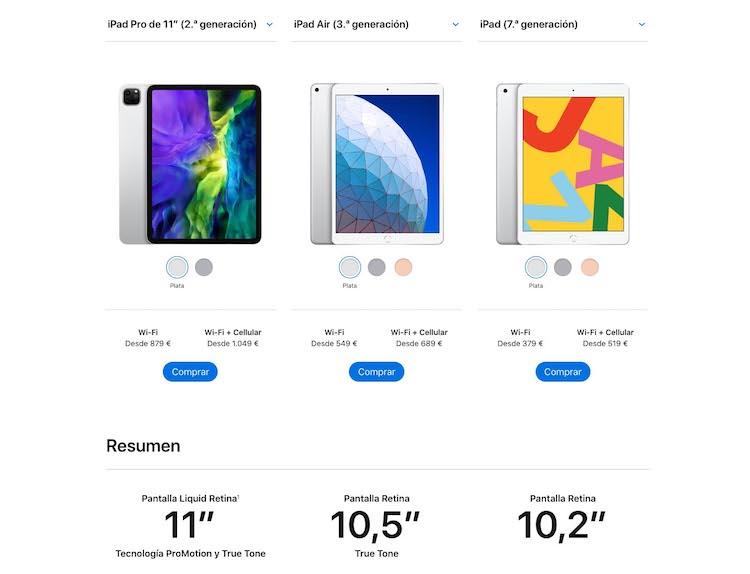 Comparativa iPad 2020