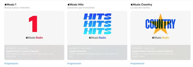 Nuevas estaciones de radio Apple Music