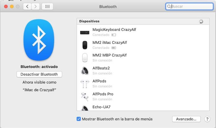 Preferencias de sistema de macOS - Bluetooth