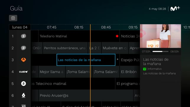 acceso a la guía de tv de Movistar+ en Apple TV