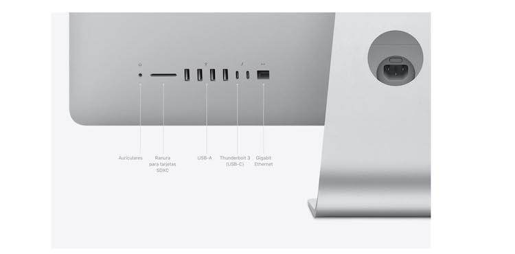 Puertos del iMac 2020 de 27 pulgadas