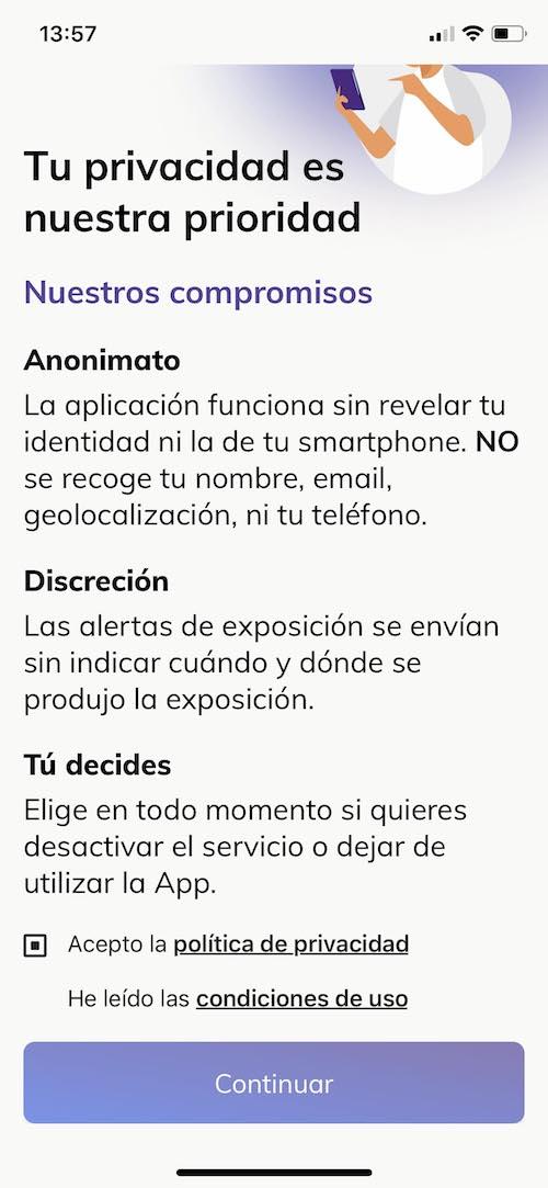 app radar COVID - Privacidad