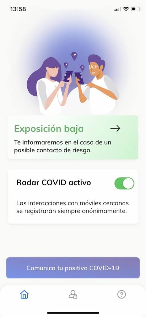 app radar COVID -activado