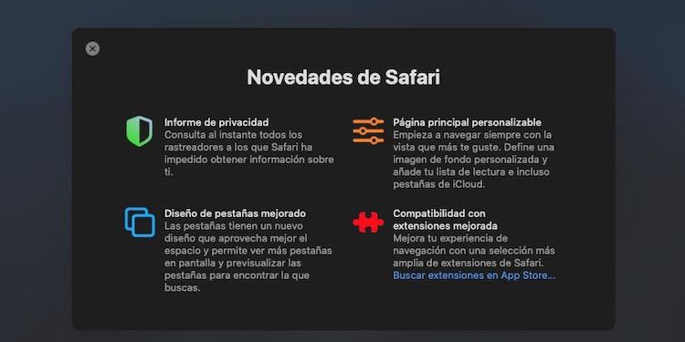 Listado de novedades de Safari 14
